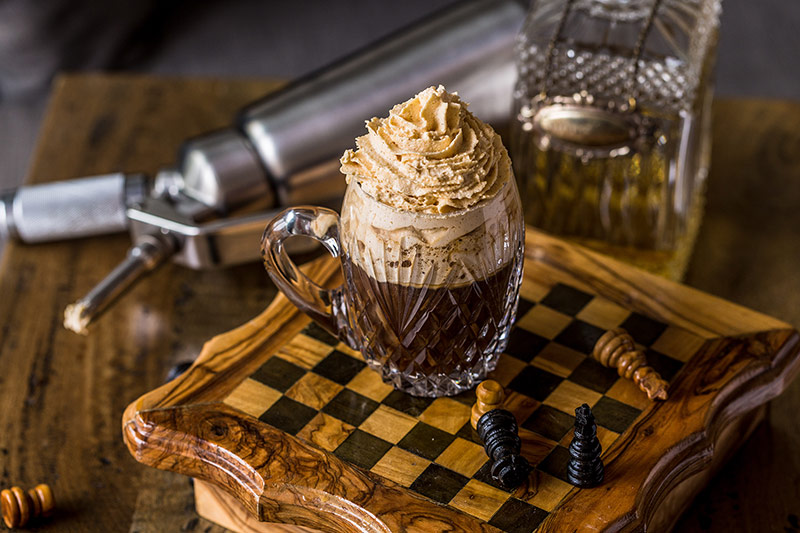 CELTIC COFFEE WITH PUMPKIN PIE WHIPPED CREAM